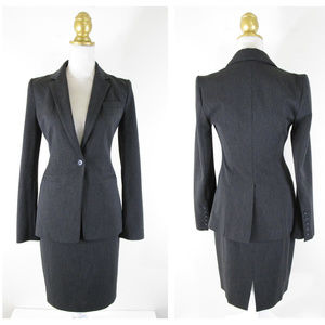 Express Charcoal Gray Fitted Skirt Suit Career 2